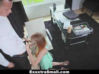 ExxxtraSmall - Clumsy Petite Secretary Rides Boss